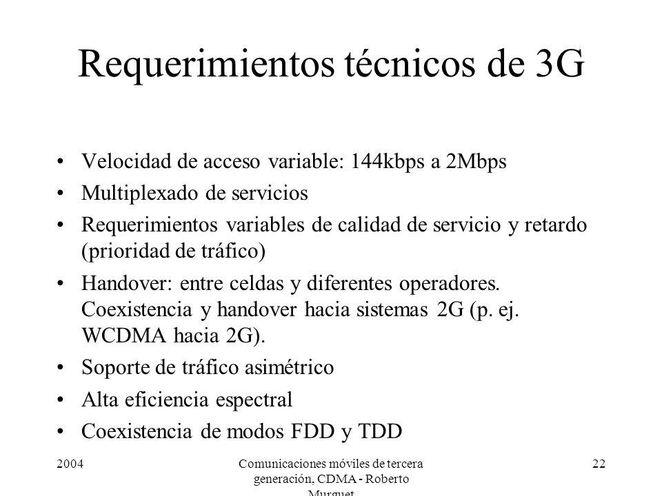 Requerimientos técnicos de 3G