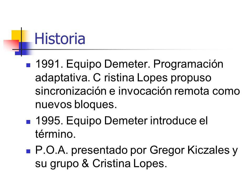 Historia 1991. Equipo Demeter. Programación adaptativa. C ristina Lopes propuso sincronización e invocación remota como nuevos bloques.