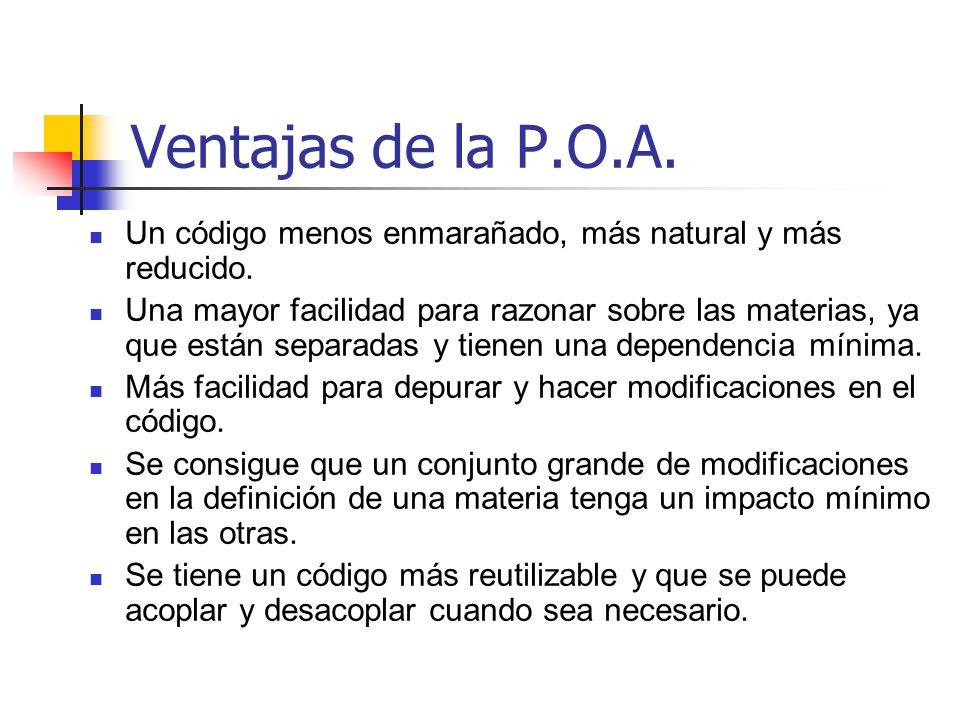 Ventajas de la P.O.A. Un código menos enmarañado, más natural y más reducido.