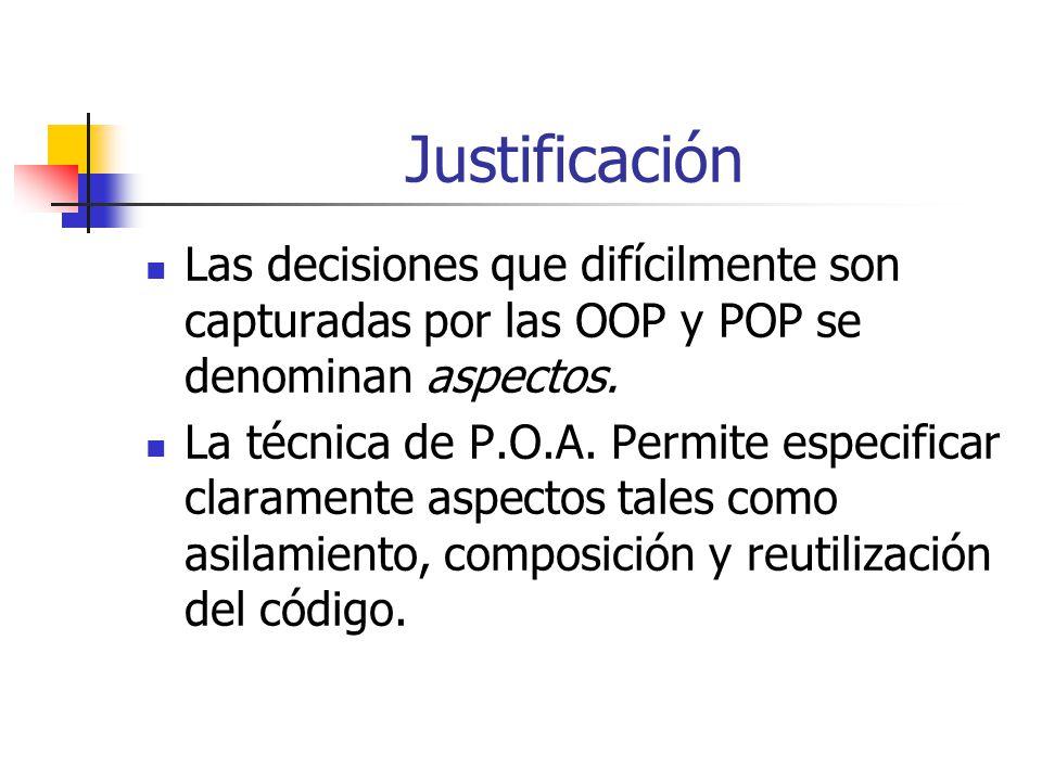 Justificación Las decisiones que difícilmente son capturadas por las OOP y POP se denominan aspectos.