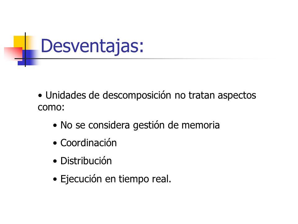 Desventajas: Unidades de descomposición no tratan aspectos como: