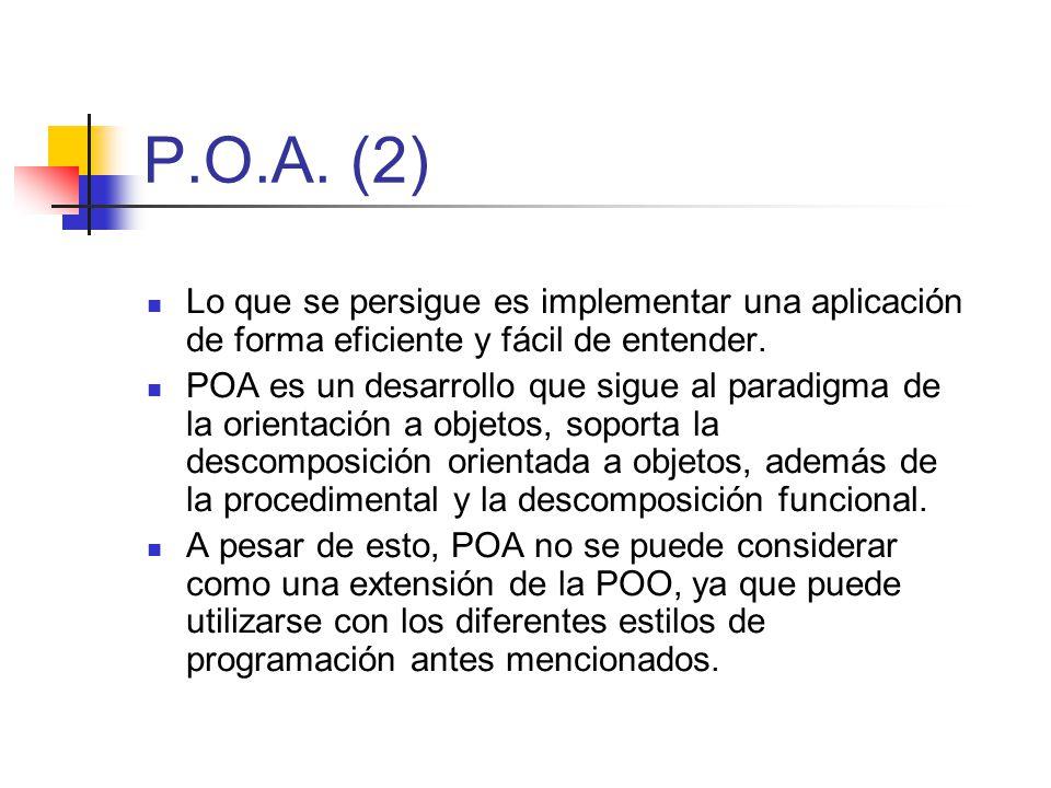 P.O.A. (2) Lo que se persigue es implementar una aplicación de forma eficiente y fácil de entender.