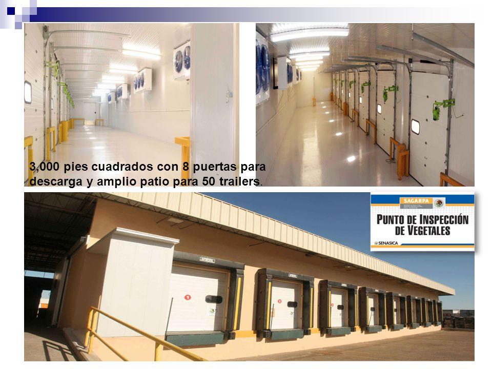 3,000 pies cuadrados con 8 puertas para descarga y amplio patio para 50 trailers.
