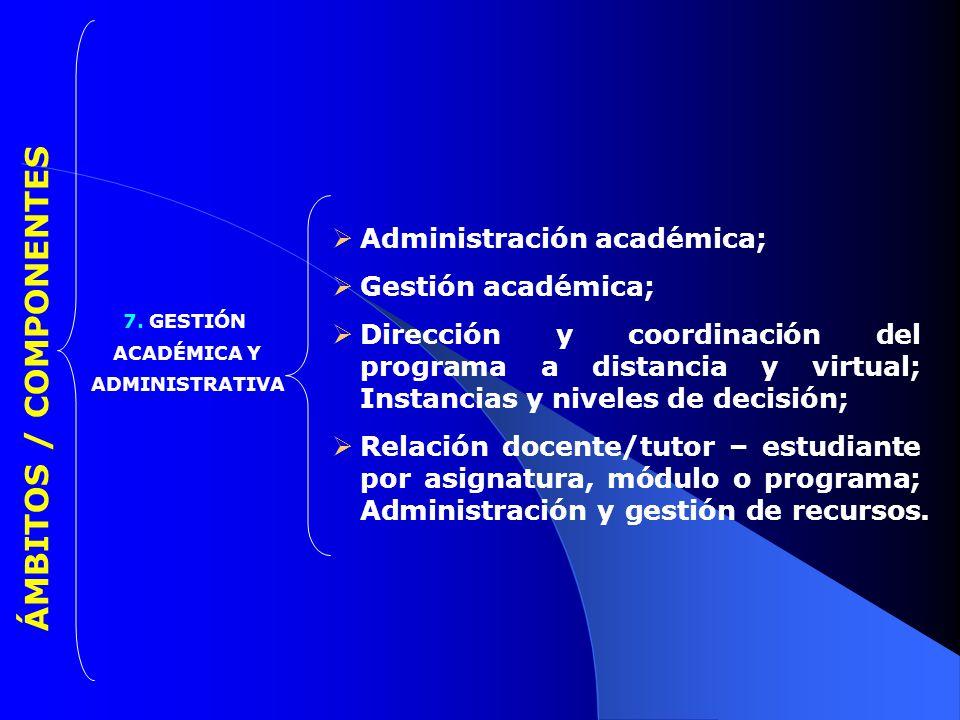 ÁMBITOS / COMPONENTES Administración académica; Gestión académica;