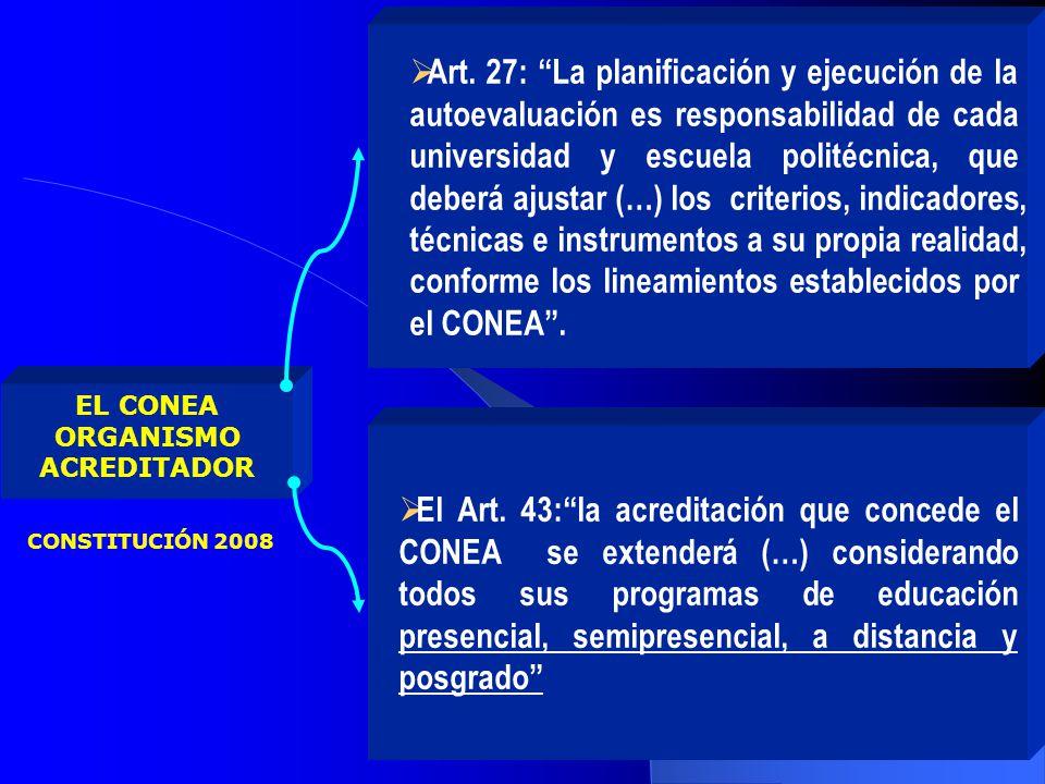 Art. 27: La planificación y ejecución de la autoevaluación es responsabilidad de cada universidad y escuela politécnica, que deberá ajustar (…) los criterios, indicadores, técnicas e instrumentos a su propia realidad, conforme los lineamientos establecidos por el CONEA .