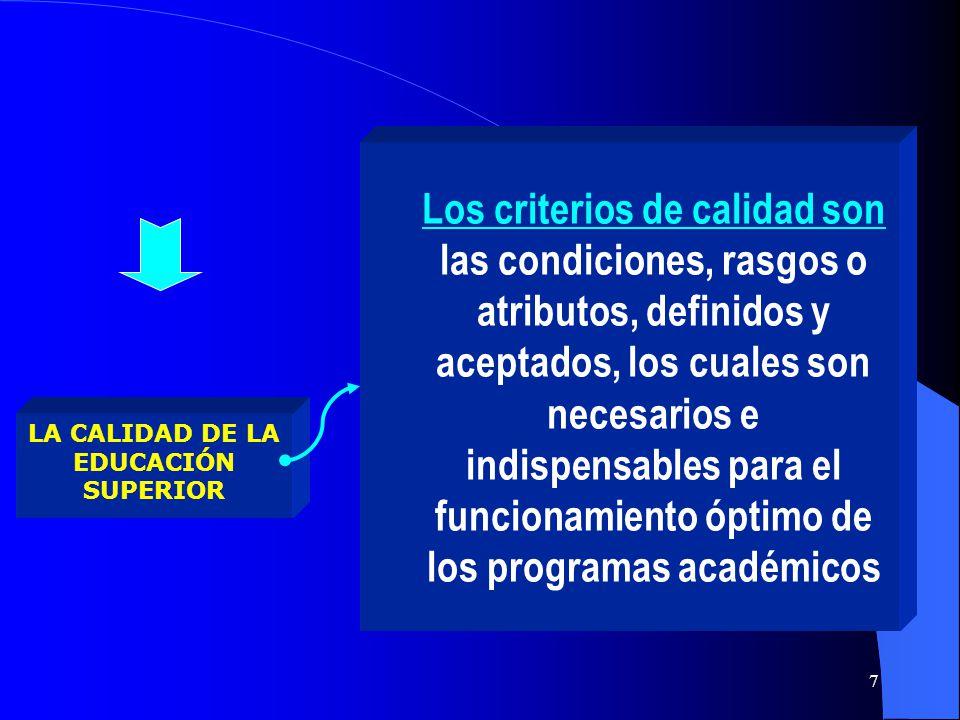 LA CALIDAD DE LA EDUCACIÓN SUPERIOR