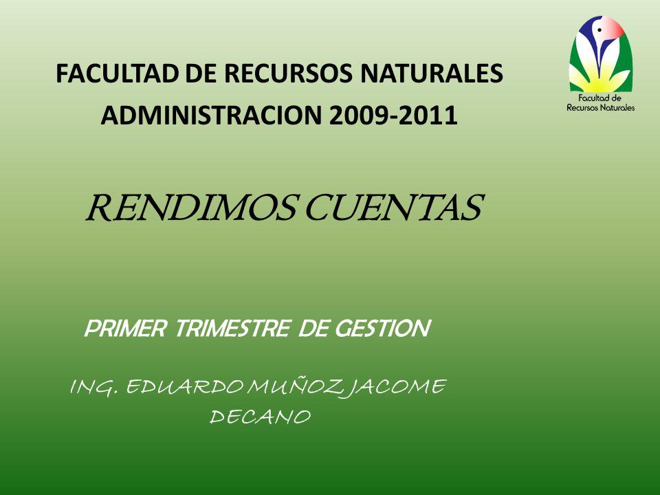 PRIMER TRIMESTRE DE GESTION ING. EDUARDO MUÑOZ JACOME DECANO