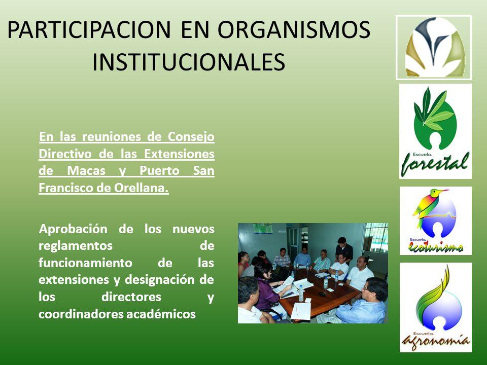 PARTICIPACION EN ORGANISMOS INSTITUCIONALES