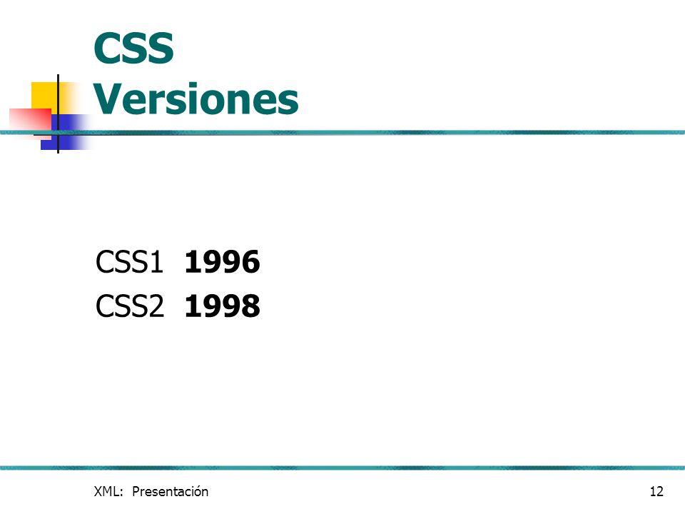 CSS Versiones CSS1 1996 CSS2 1998 XML: Presentación