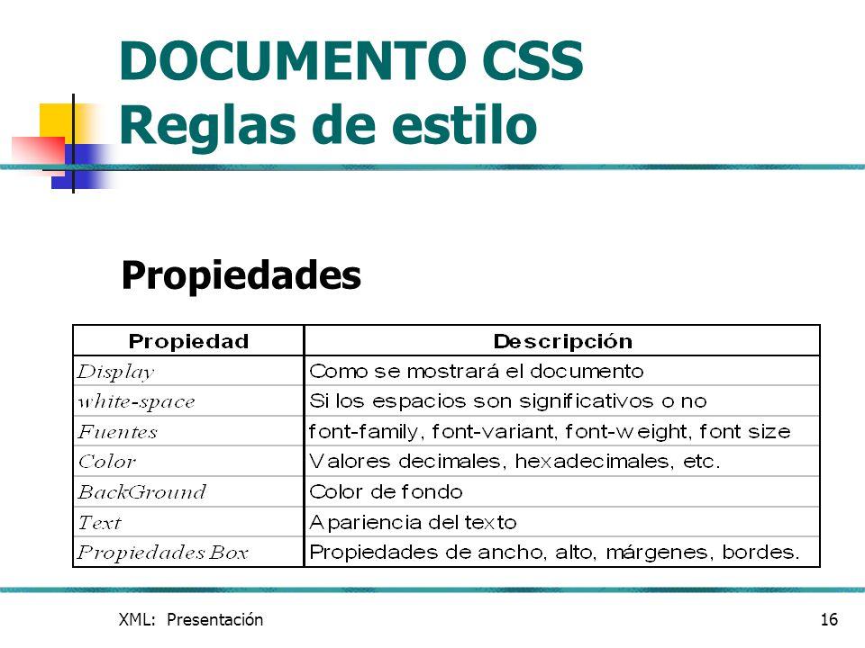 DOCUMENTO CSS Reglas de estilo