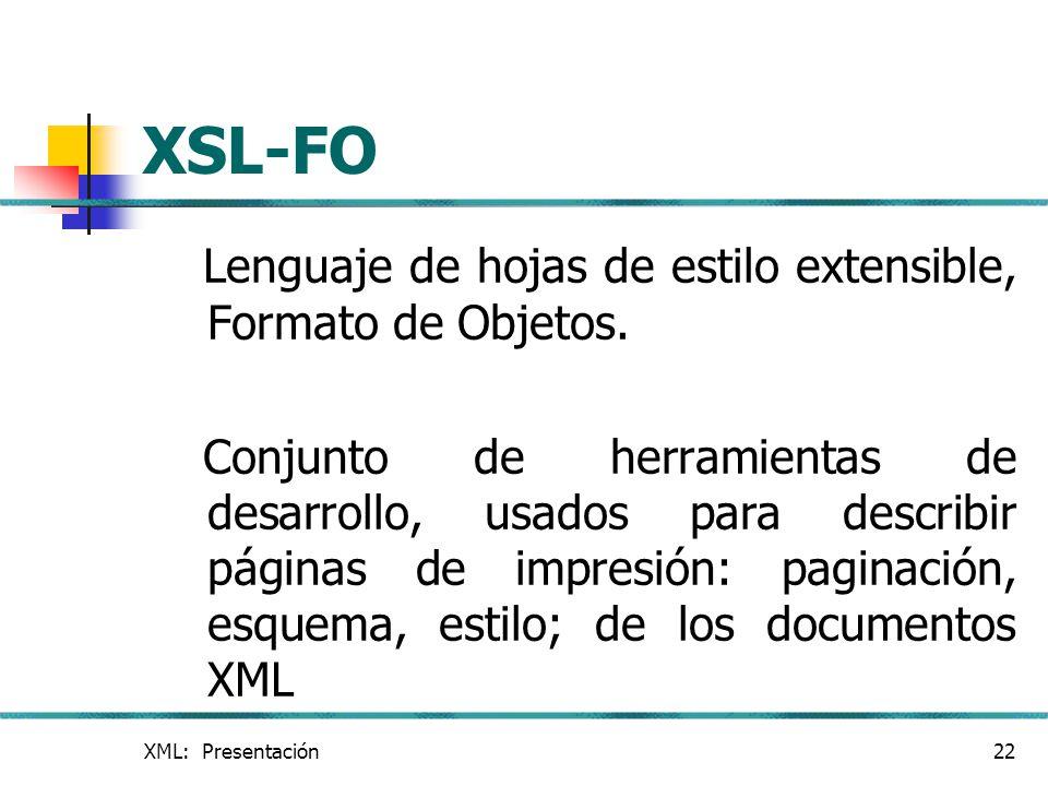 XSL-FO Lenguaje de hojas de estilo extensible, Formato de Objetos.