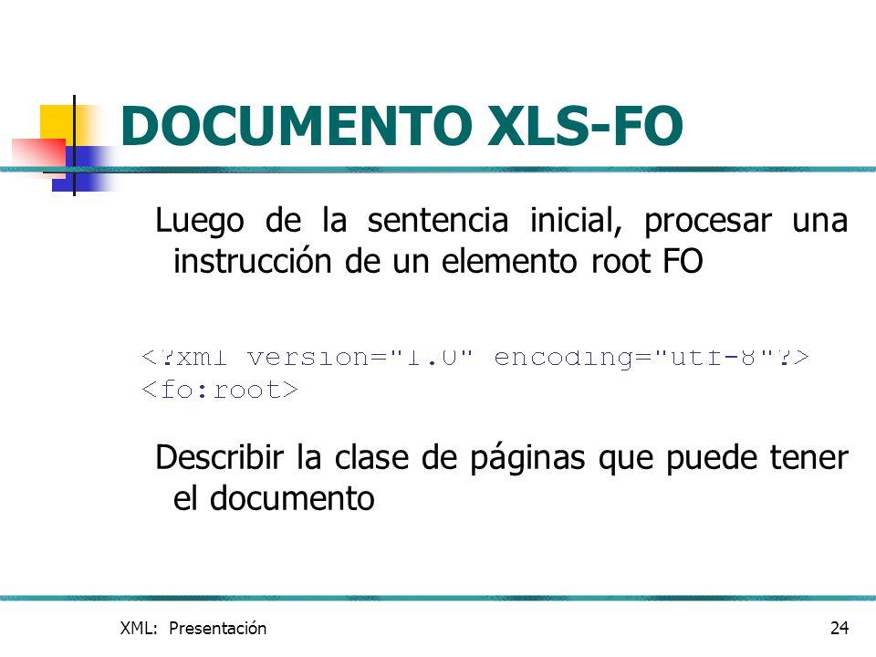 DOCUMENTO XLS-FO Luego de la sentencia inicial, procesar una instrucción de un elemento root FO.