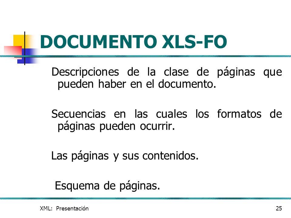 DOCUMENTO XLS-FO Descripciones de la clase de páginas que pueden haber en el documento.