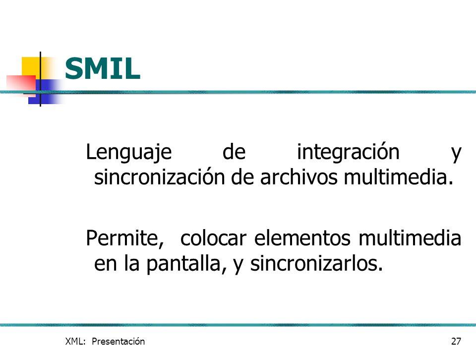 SMIL Lenguaje de integración y sincronización de archivos multimedia.