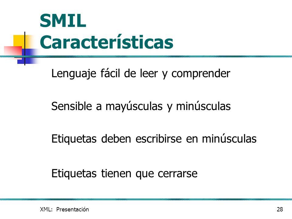 SMIL Características Lenguaje fácil de leer y comprender