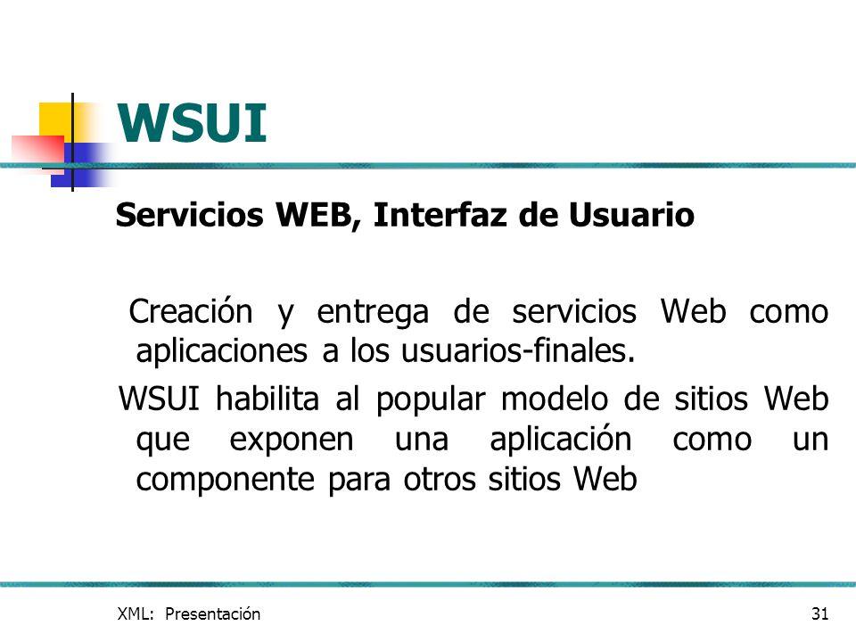 WSUI Servicios WEB, Interfaz de Usuario