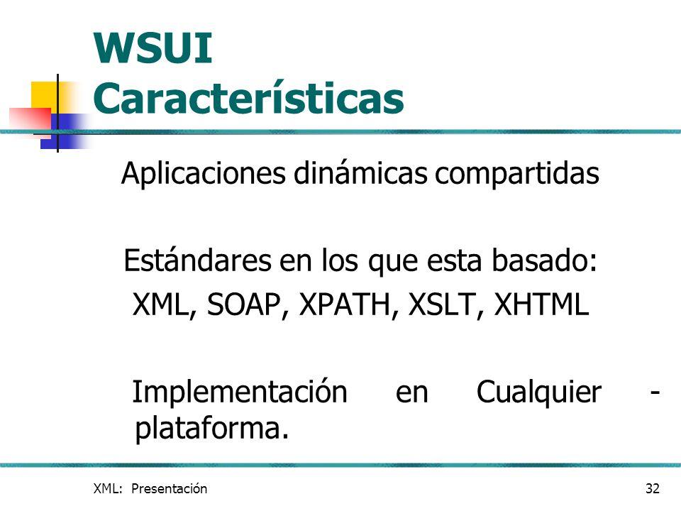 WSUI Características Aplicaciones dinámicas compartidas
