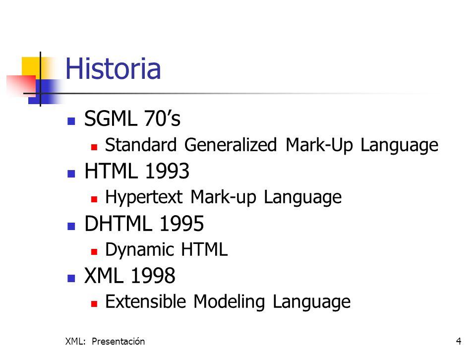 Historia SGML 70's HTML 1993 DHTML 1995 XML 1998