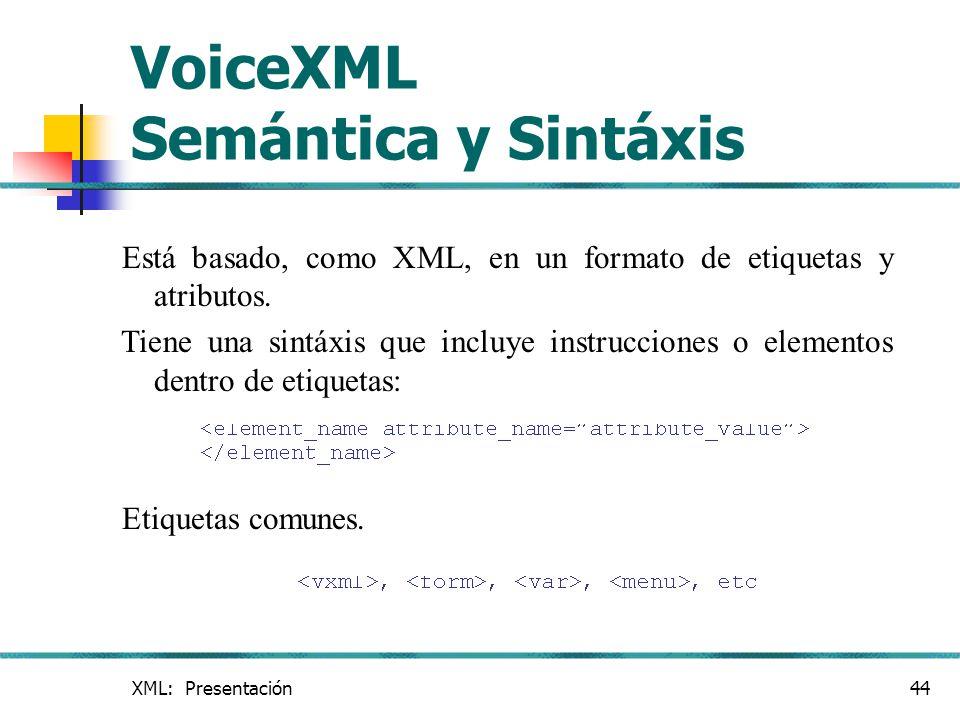 VoiceXML Semántica y Sintáxis