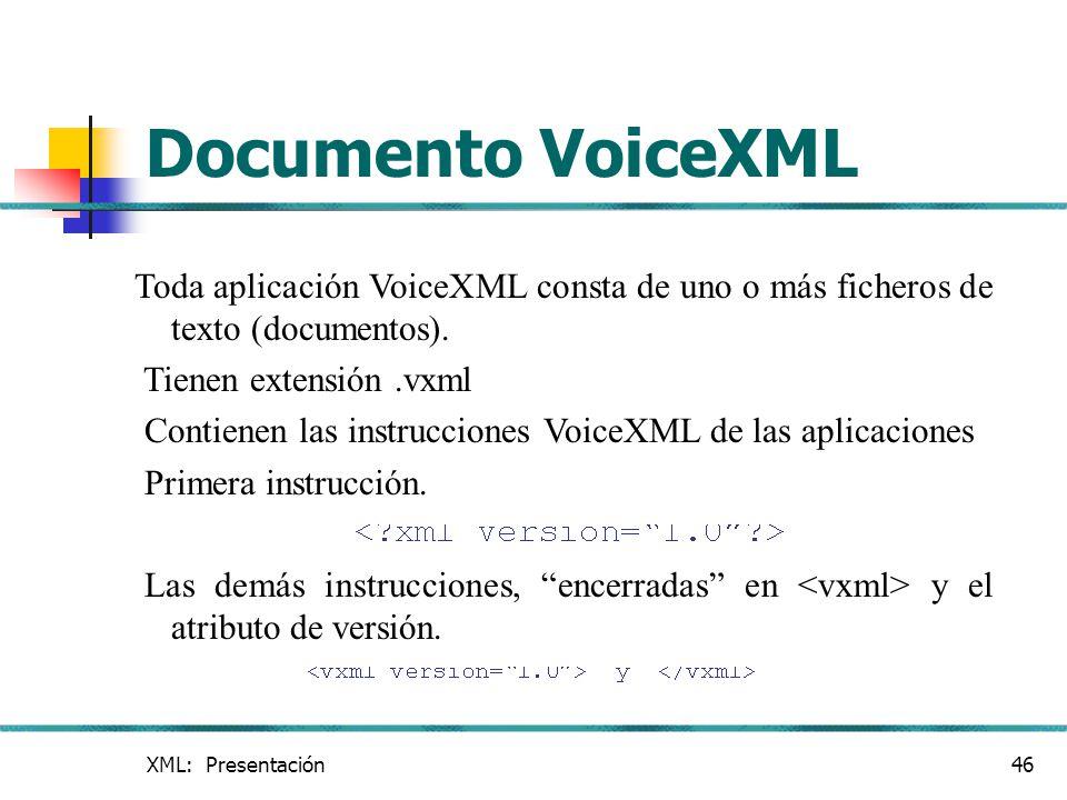 Documento VoiceXML Toda aplicación VoiceXML consta de uno o más ficheros de texto (documentos). Tienen extensión .vxml.