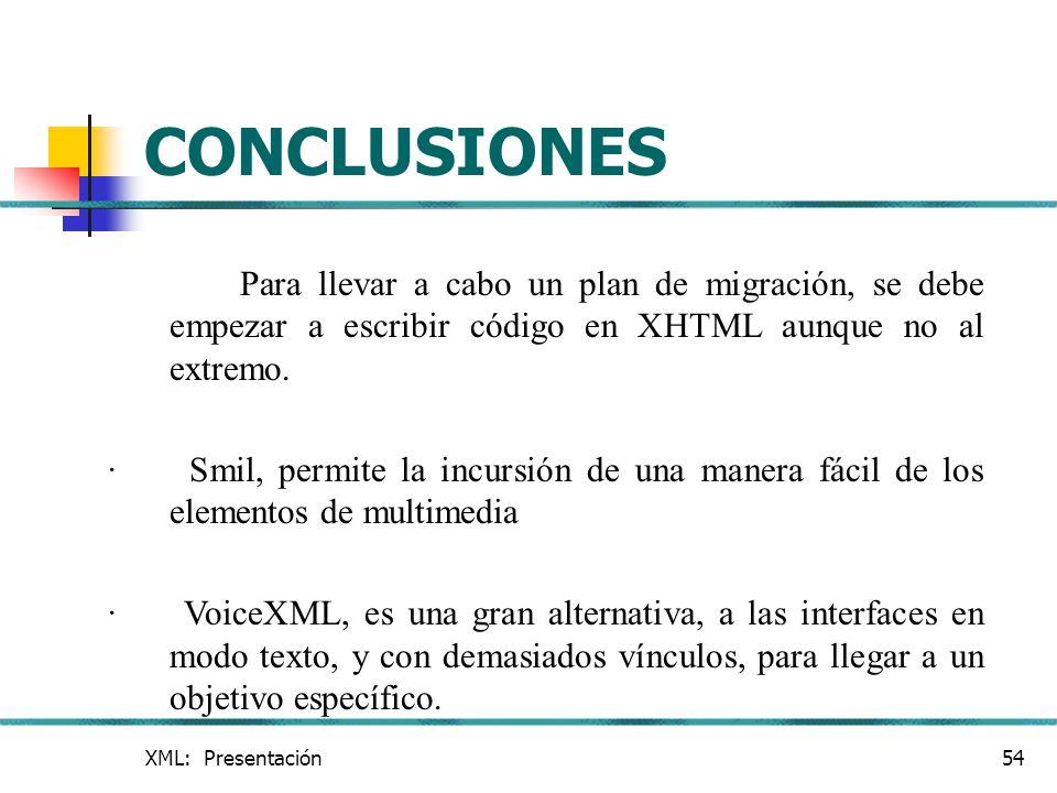 CONCLUSIONES Para llevar a cabo un plan de migración, se debe empezar a escribir código en XHTML aunque no al extremo.