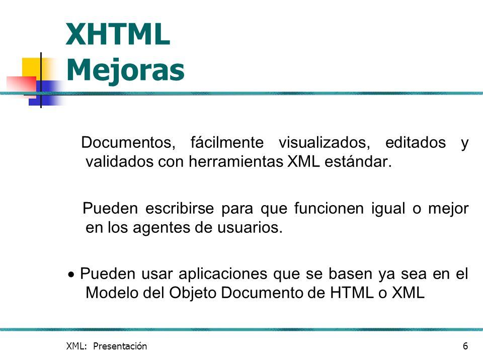 XHTML Mejoras Documentos, fácilmente visualizados, editados y validados con herramientas XML estándar.