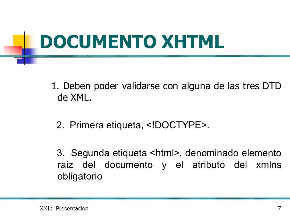 DOCUMENTO XHTML 1. Deben poder validarse con alguna de las tres DTD de XML. 2. Primera etiqueta, <!DOCTYPE>.