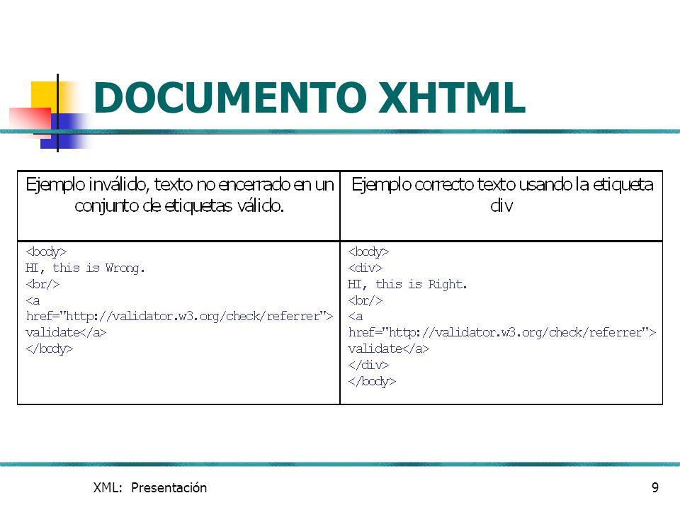 DOCUMENTO XHTML XML: Presentación