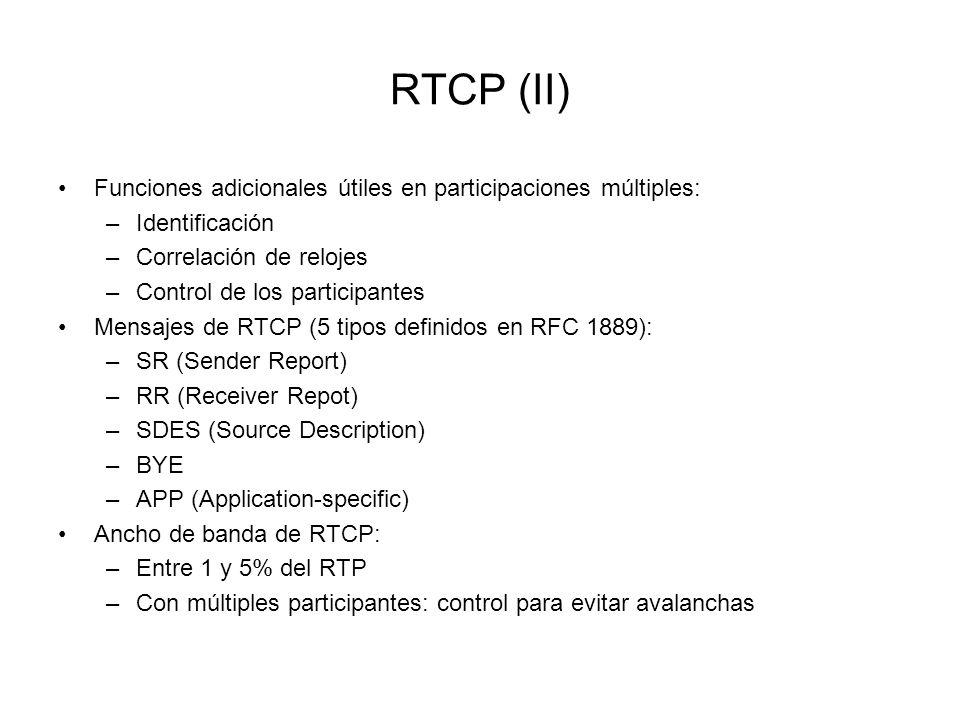 RTCP (II) Funciones adicionales útiles en participaciones múltiples: