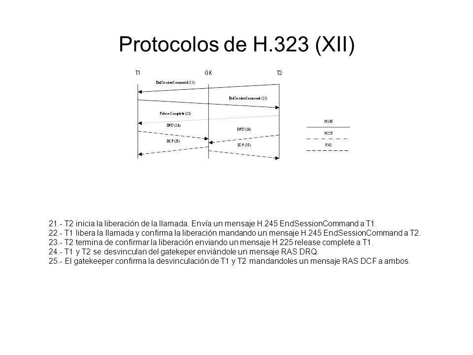 Protocolos de H.323 (XII) 21.- T2 inicia la liberación de la llamada. Envía un mensaje H.245 EndSessionCommand a T1.
