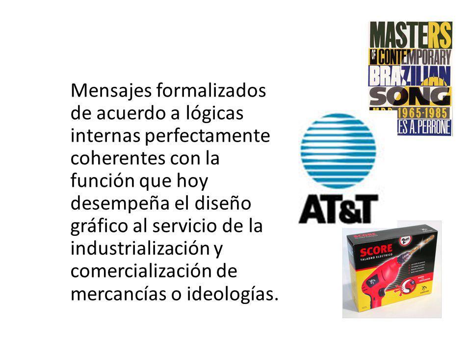 Mensajes formalizados de acuerdo a lógicas internas perfectamente coherentes con la función que hoy desempeña el diseño gráfico al servicio de la industrialización y comercialización de mercancías o ideologías.