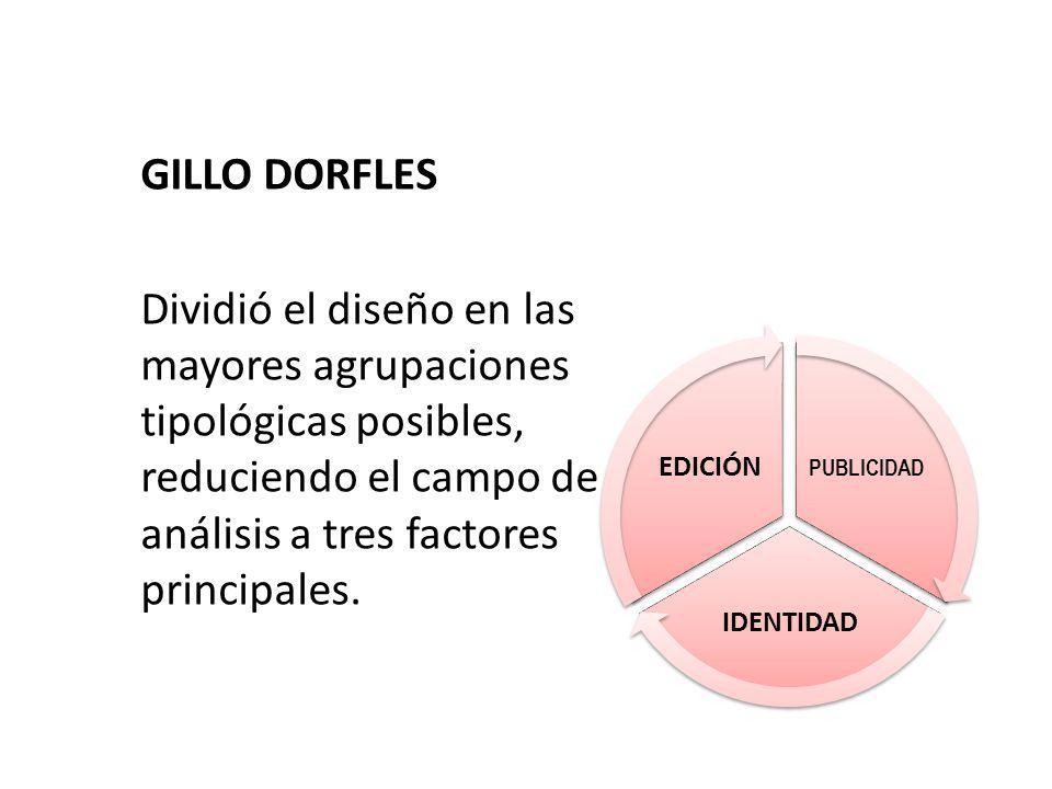 GILLO DORFLES Dividió el diseño en las mayores agrupaciones tipológicas posibles, reduciendo el campo de análisis a tres factores principales.