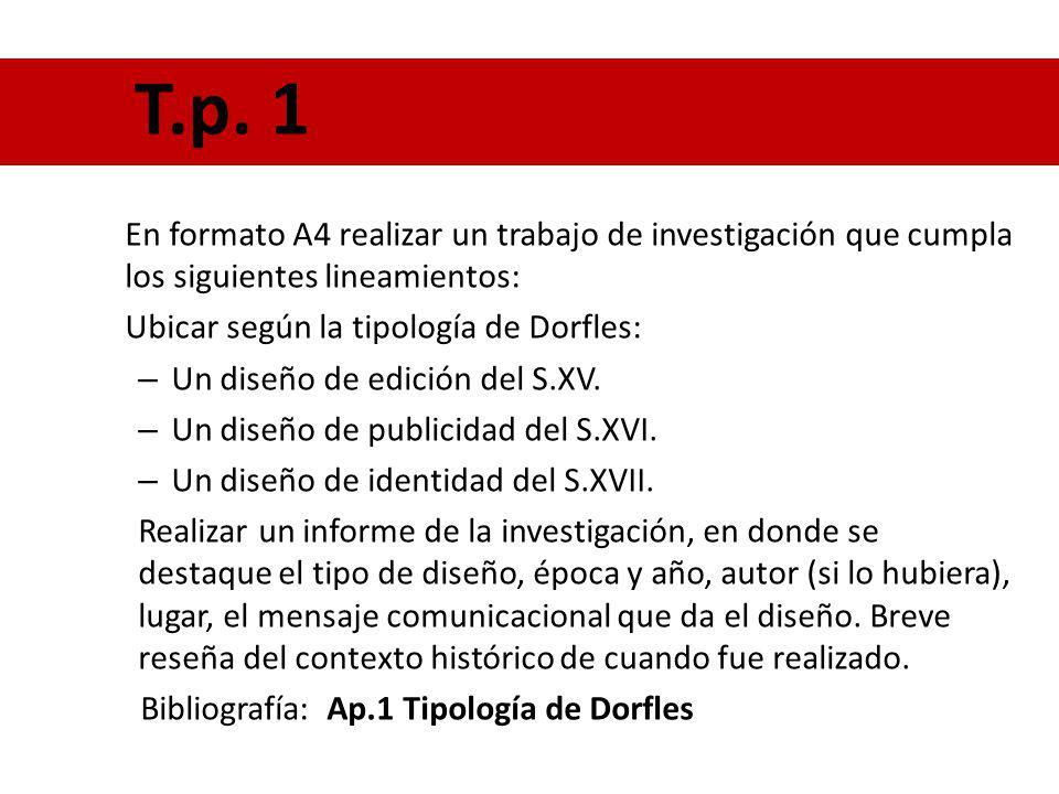 T.p. 1 En formato A4 realizar un trabajo de investigación que cumpla los siguientes lineamientos: Ubicar según la tipología de Dorfles: