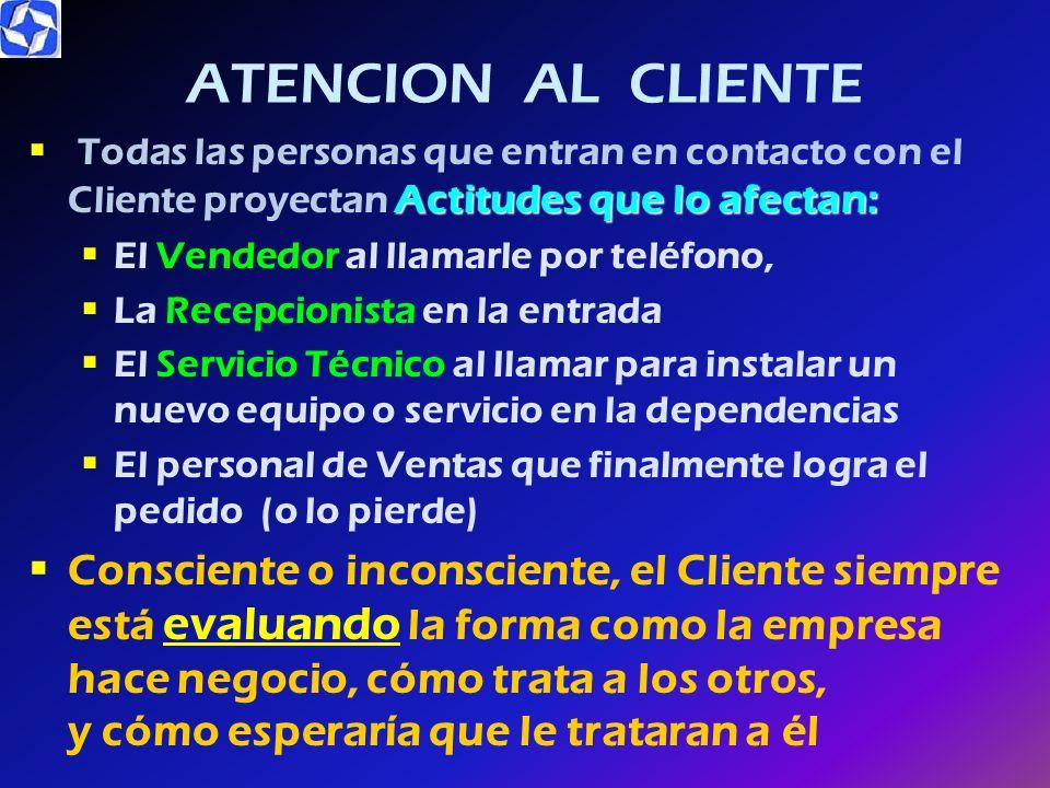 ATENCION AL CLIENTE Todas las personas que entran en contacto con el Cliente proyectan Actitudes que lo afectan: