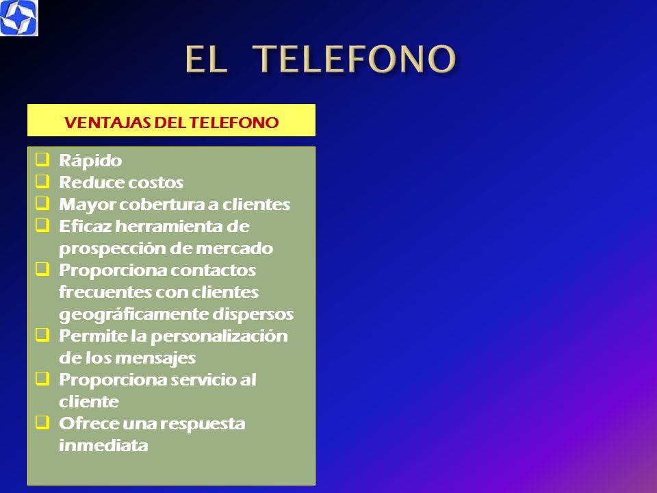 EL TELEFONO Rápido Reduce costos Mayor cobertura a clientes