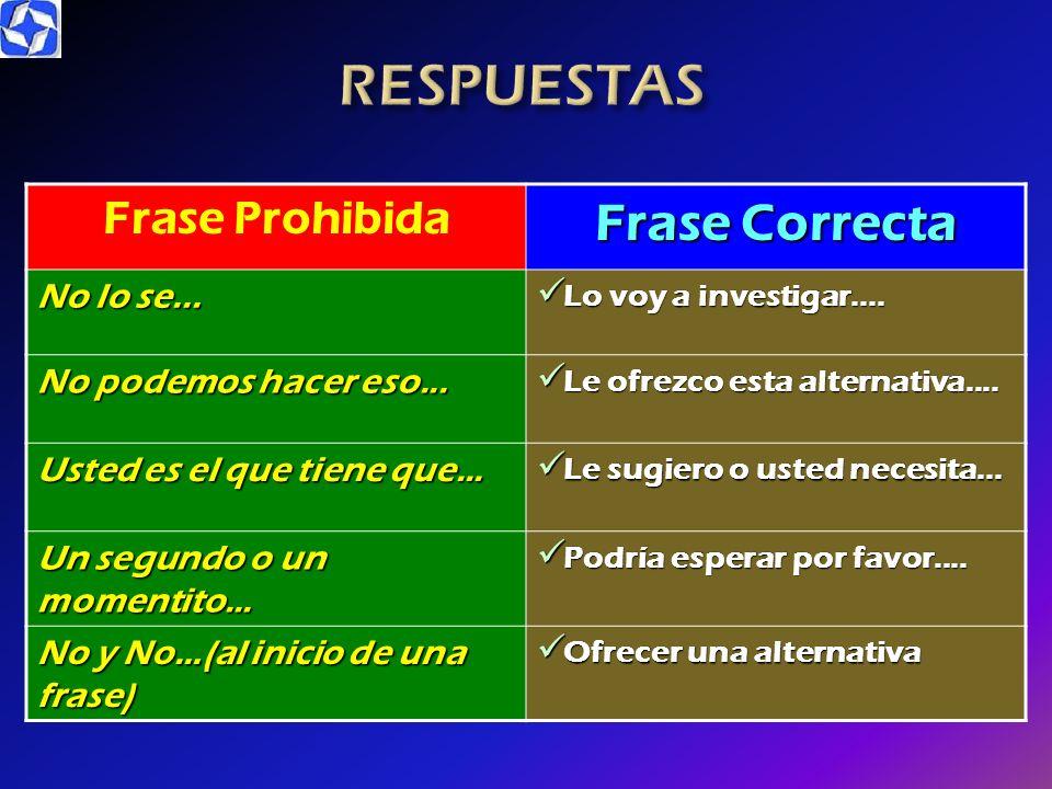 RESPUESTAS Frase Correcta Frase Prohibida No lo se...