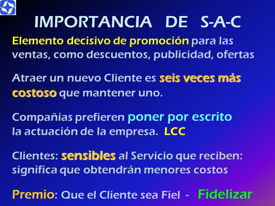 IMPORTANCIA DE S-A-C Premio: Que el Cliente sea Fiel - Fidelizar