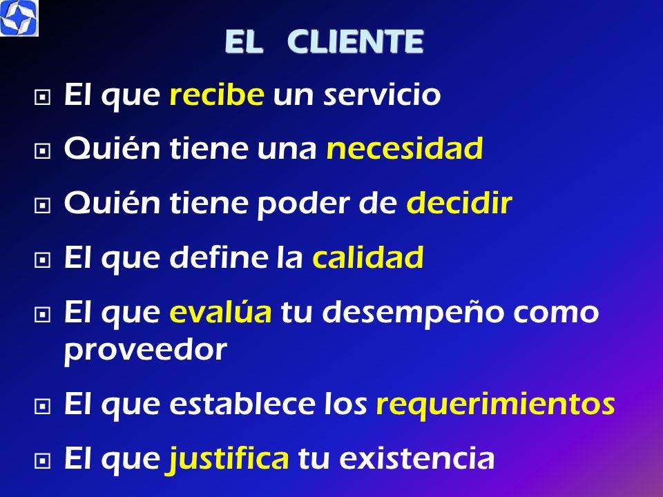 EL CLIENTE El que recibe un servicio. Quién tiene una necesidad. Quién tiene poder de decidir. El que define la calidad.