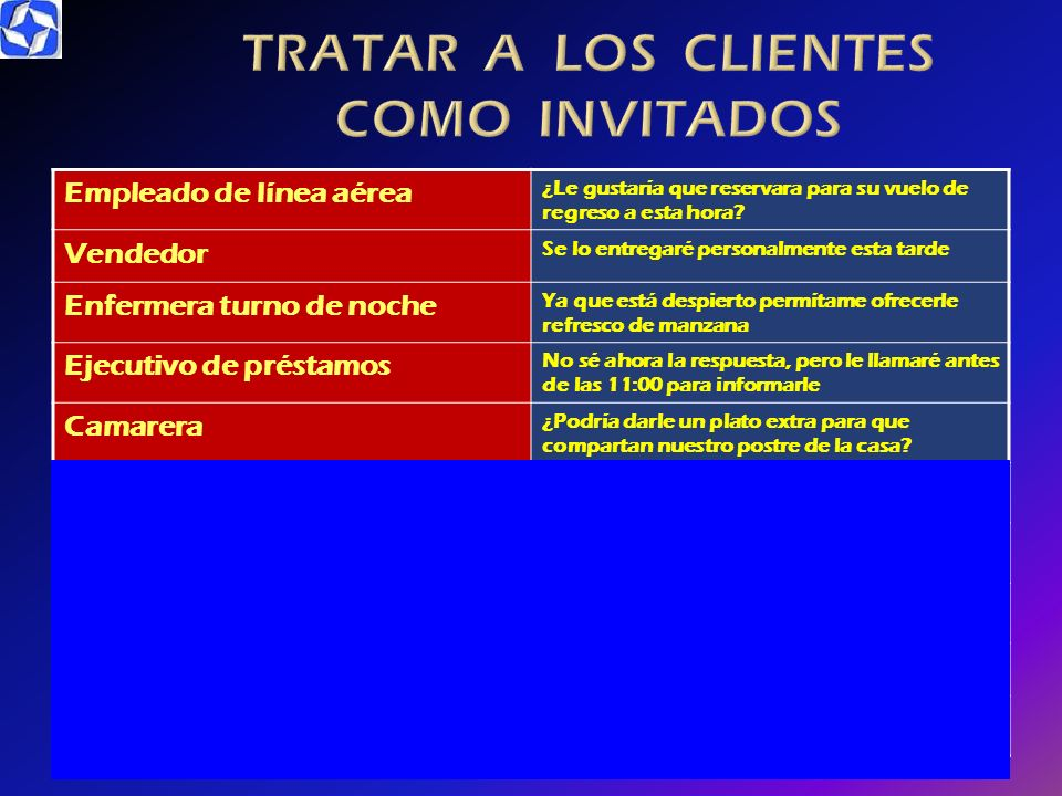 TRATAR A LOS CLIENTES COMO INVITADOS
