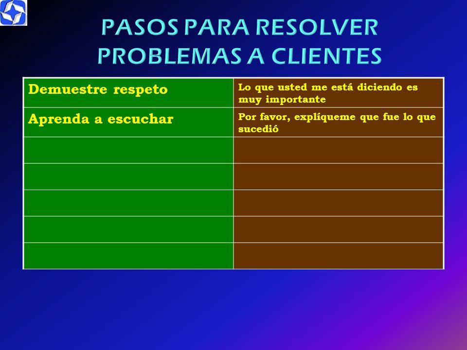 PASOS PARA RESOLVER PROBLEMAS A CLIENTES