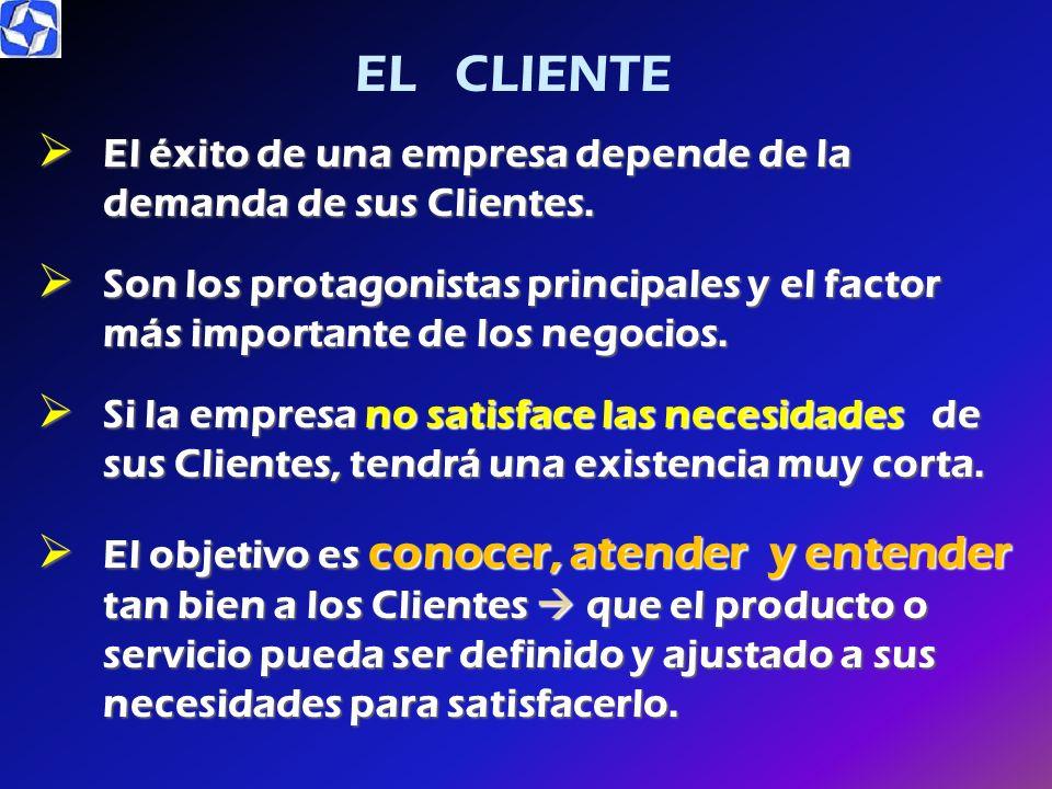 EL CLIENTE El éxito de una empresa depende de la demanda de sus Clientes.