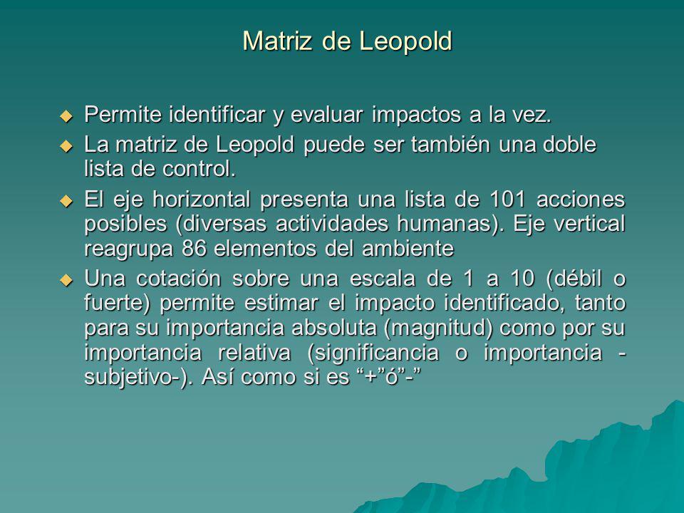 Matriz de Leopold Permite identificar y evaluar impactos a la vez.