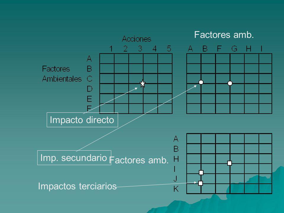 Factores amb. Impacto directo Imp. secundario Factores amb. Impactos terciarios