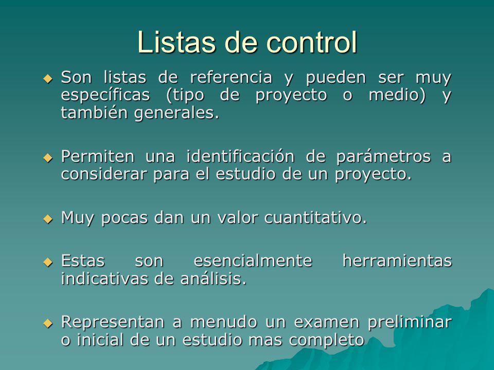 Listas de control Son listas de referencia y pueden ser muy específicas (tipo de proyecto o medio) y también generales.