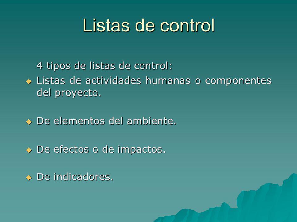 Listas de control 4 tipos de listas de control: