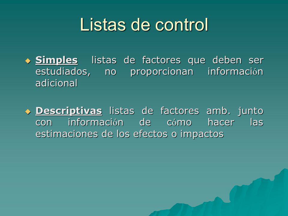 Listas de control Simples listas de factores que deben ser estudiados, no proporcionan información adicional.