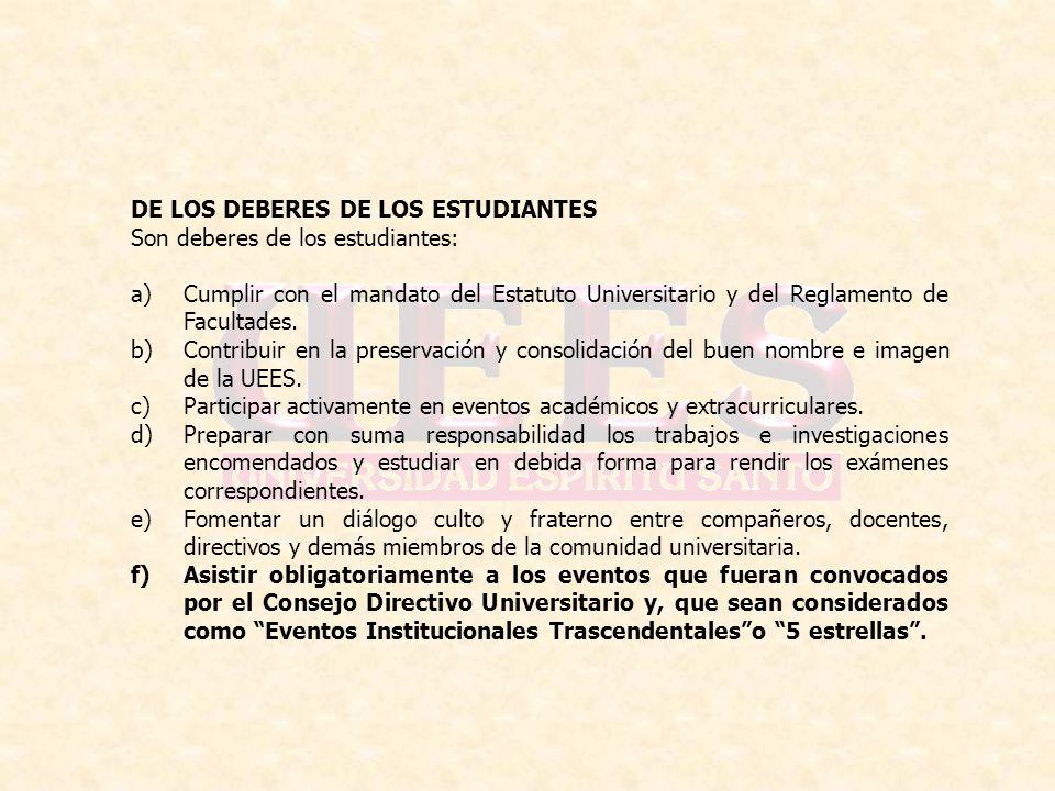 DE LOS DEBERES DE LOS ESTUDIANTES