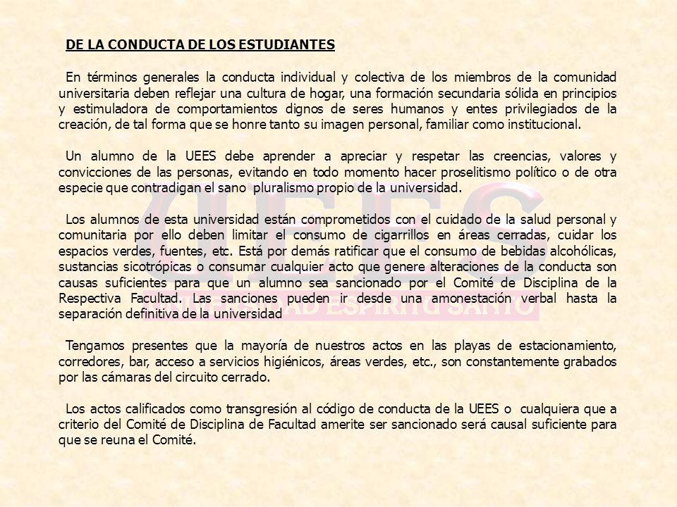 DE LA CONDUCTA DE LOS ESTUDIANTES