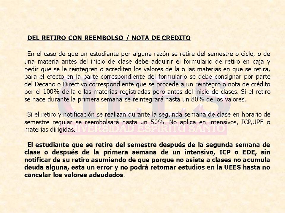 DEL RETIRO CON REEMBOLSO / NOTA DE CREDITO