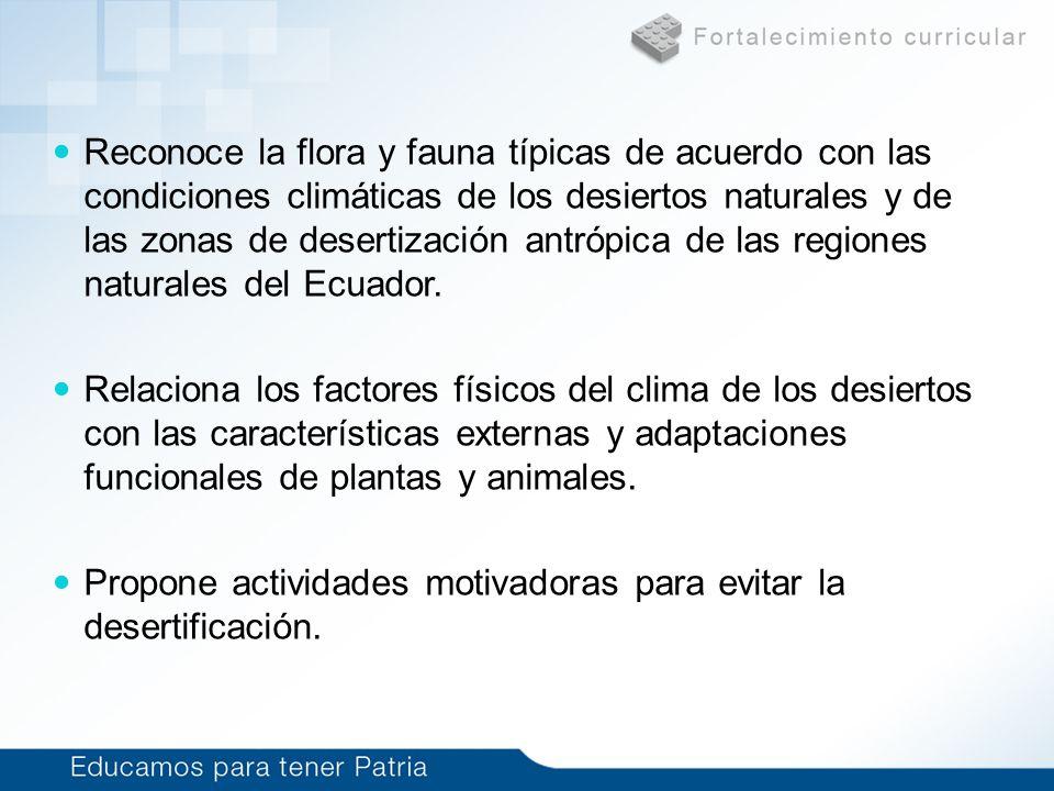 Reconoce la flora y fauna típicas de acuerdo con las condiciones climáticas de los desiertos naturales y de las zonas de desertización antrópica de las regiones naturales del Ecuador.